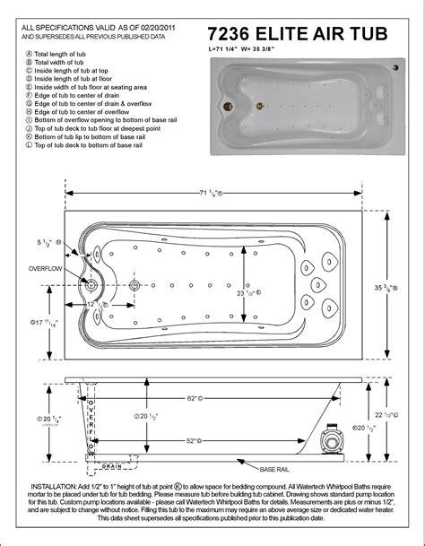 elite vessel installation instructions watertech a7236 elite air bath tub 7135 at tubzandmore