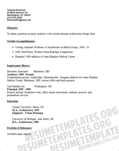 architect resume template construction and architecture