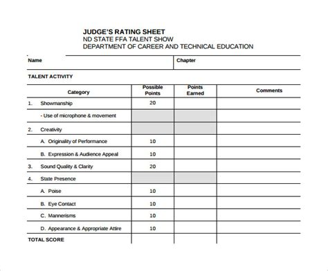 Judging Card Template by 10 Talent Show Score Sheet Sles Sle Templates