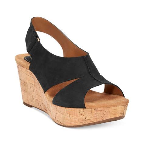 clarks black sandals clarks artisan by caslynn lizzie plaform wedge sandals in