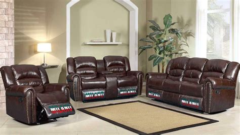 traditional leather living room sets jacob brown bonded leather motion traditional living room set w nail heads