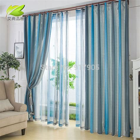 selling curtains hot selling fashion blue strips tulle sheer curtains for