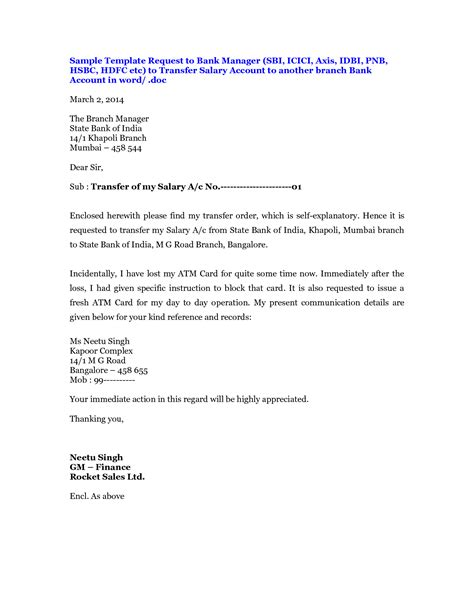 Bank Account Transfer Letter Format In Pdf Sle Format Letter Transfer Request Transfer