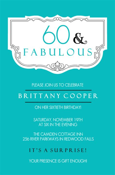 template for 60th birthday card 40th birthday ideas 60th birthday invitation card