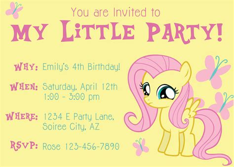 my pony invitation template mlp fluttershy quotes quotesgram