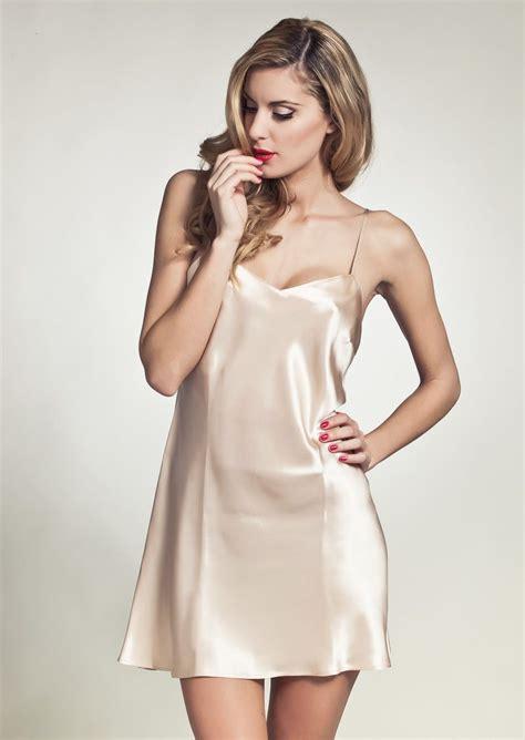 lingerie de satin marjolaine oda slip on dress peach marjolaine luxury