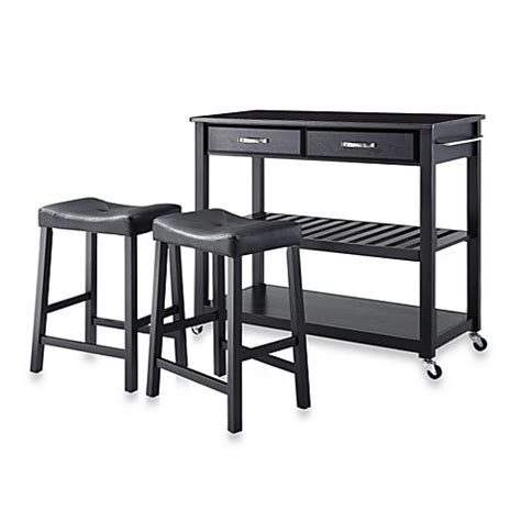 kitchen island cart with stools crosley solid black granite top rolling kitchen cart