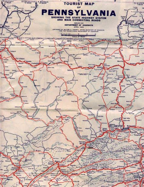 road map of pennsylvania 1920 s pennsylvania state road maps