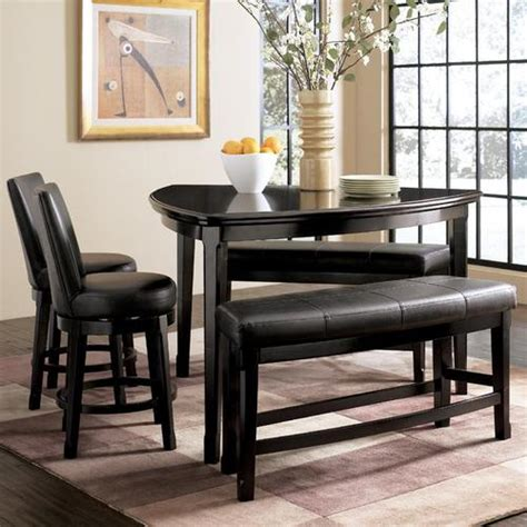 Triangle Dining Table Set Millennium Emory 5 Triangle Pub Table Set With Two 24 Inch Upholstered Swivel Bar Stool