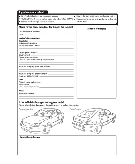 vehicle damage report form template free vehicle report 13 free pdf word documents