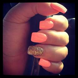 one color nails this orange color nails