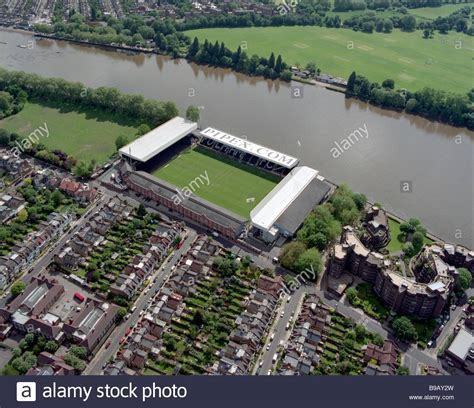 fulham craven cottage aerial view of fulham fc craven cottage stadium stock