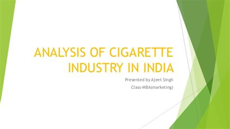 Business Anlytics Mba In India by Analysis Of Cigarette Industry In India