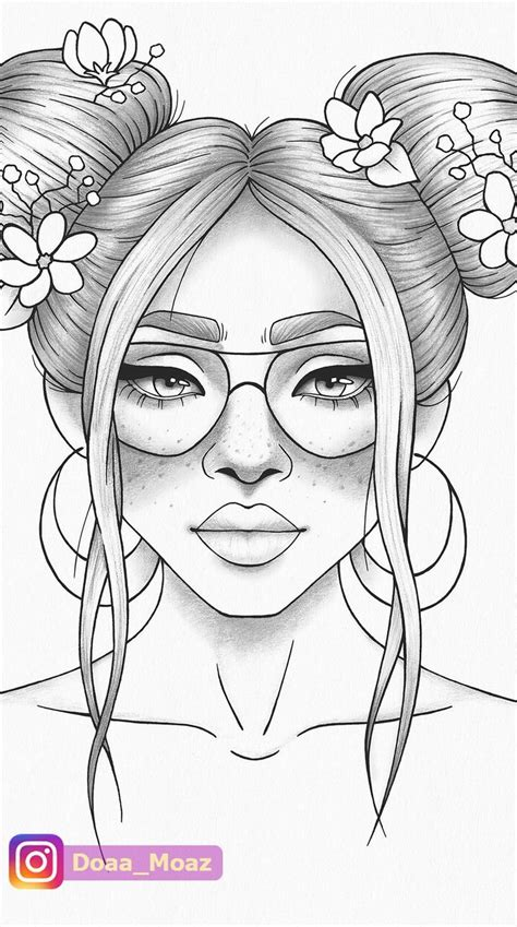 printable coloring page girl portrait  clothes