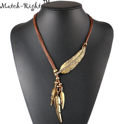 Pendant Statement Necklace Earrings Accessories necklace alloy feather statement necklaces pendants vintage jewelry rope chain necklace