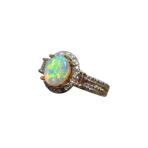 opal ring diamonds oval green yellow 14k gold