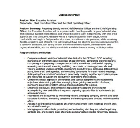 chief executive officer description chief operating officer description template 7 free