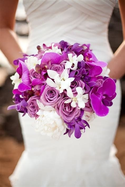 orchid wedding bouquets in brilliant colors modwedding