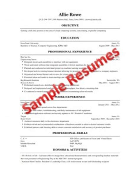 Resume Sles For A Engineering Student Resume Building For Engineering Students Engineering Career Services Iowa State