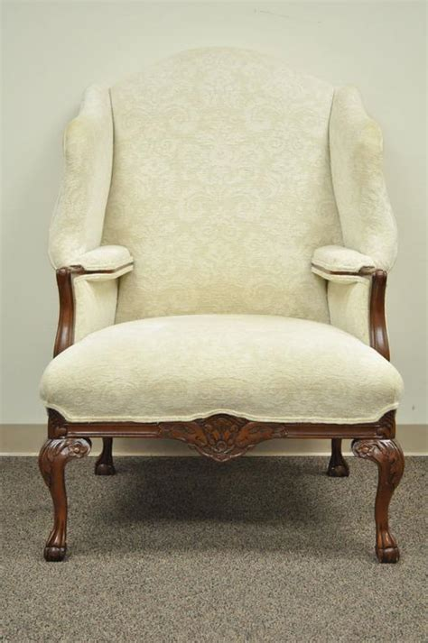 Oversized Armchairs For Sale by 20th Century Oversized Carved Mahogany Chippendale Style Wingback Armchair For Sale At 1stdibs