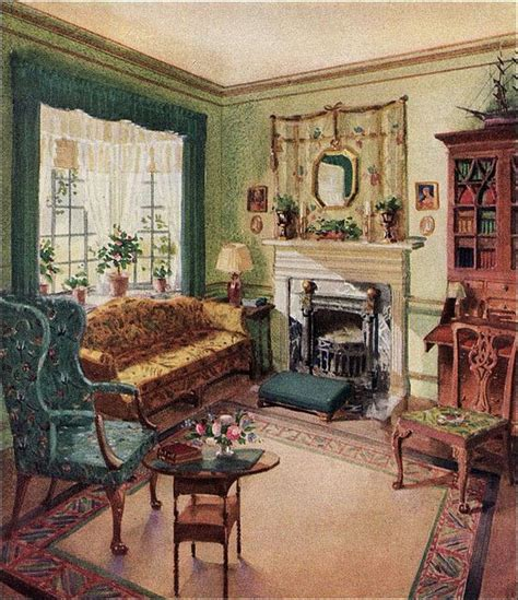 literature s living room at home with s classic novelists books 1929 living room karpen furniture by american vintage