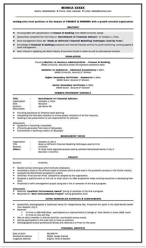 resume cover letter sles for mba freshers mba resume format for freshers in finance resume ideas