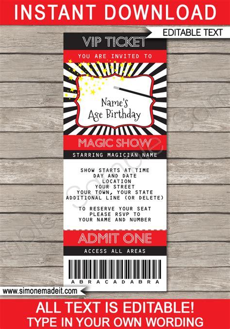 Printable Magic Ticket Invitation Template Magic Party Invite Printable Ticket Invitation Template