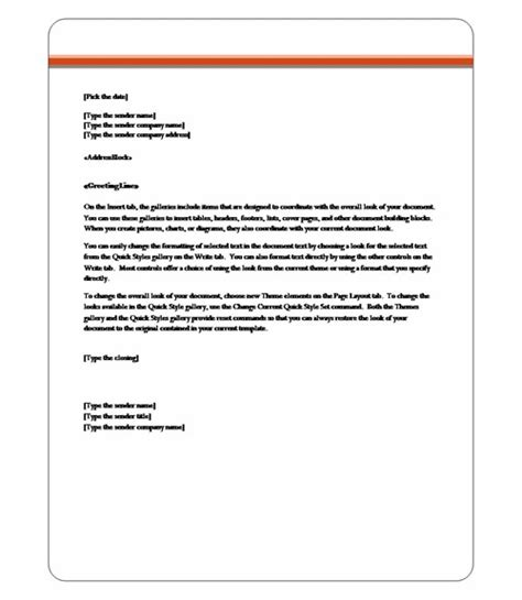word letter template 2010 letter of recommendation