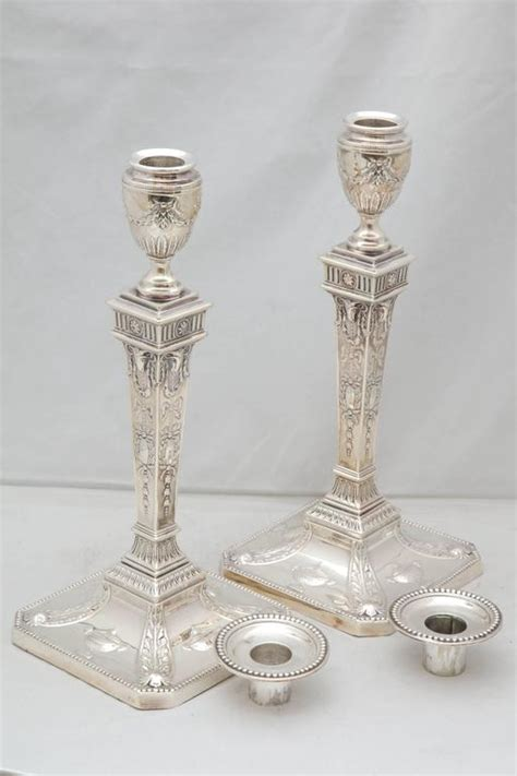 silver candlestick by loofs adam tall pair of edwardian sterling silver adam style