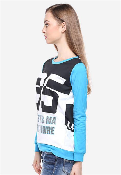 Kaos Wanita regular fit kaos wanita putih biru lengan panjang