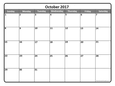 Calendar 2017 October Printable October 2017 Calendar Printable Template With Holidays