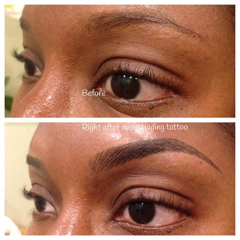 non permanent tattoo before and after microblading which is a manual