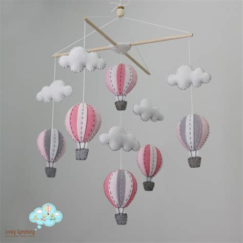 Grey Crib Mobile by Up In The Air Pink And Grey Baby Mobile Pastel By