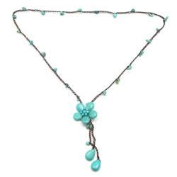 awesome of aqua flower on aeb design silver small ring necklace 13449495