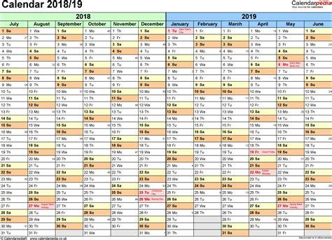 Calendar 2018 Docx Split Year Calendars 2018 19 July To June For Word Uk