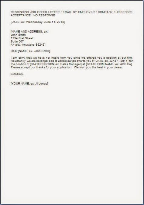 Dealership Withdrawal Letter Format Offer Withdrawal Letter Format