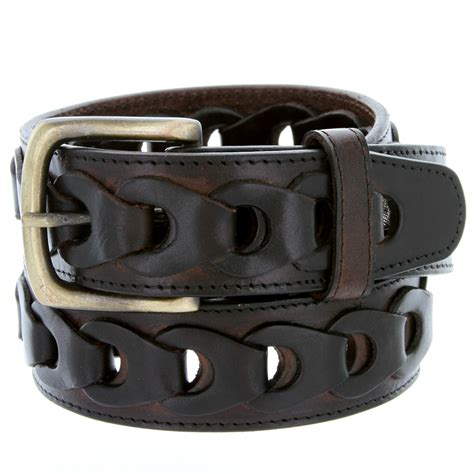 s braided genuine leather casual jean belt brown