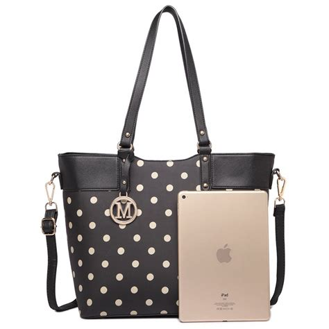 Tote Bags Dots by Lt1653 Misslulu Polka Dot Print Tote Bag Black