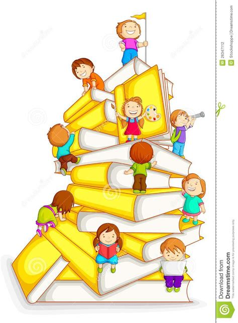 books and authors for kids in the stacks scholastic kids climbing in stack of book stock vector illustration