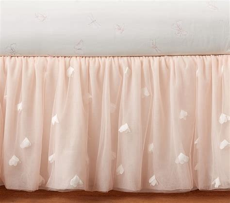 Tulle Crib Bedskirt by Lhuillier Blush Pink Ethereal Bed Skirt Pottery
