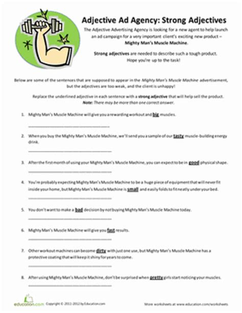 Adjective Worksheets 4th Grade by Strong Adjectives Worksheet Education