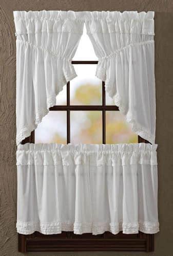 white swag curtains white ruffled sheer window curtain prairie swag