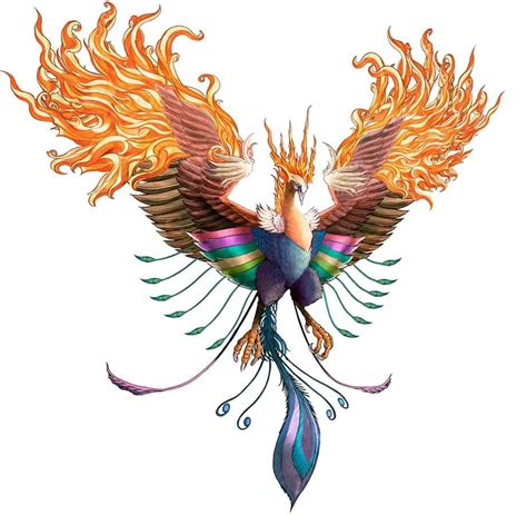 phoenix 3d tattoo design colorful design
