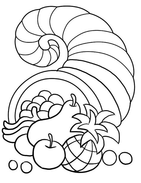 Thanksgiving Day Decorations With Horn Of Plenty Coloring Horn Of Plenty Coloring Page