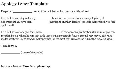apology letter template sle letters