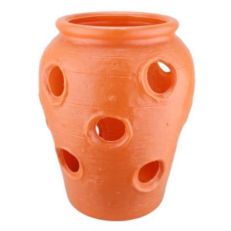 Large Strawberry Jar Terra Cotta Color Plastic Planter Strawberry Jar Planter