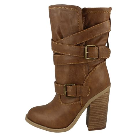 spot on pull on boots mid calf length chunky