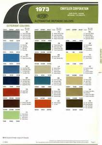 Chrysler Paint Codes Automotive Paint Color Codes 1973 Chrysler Imperial