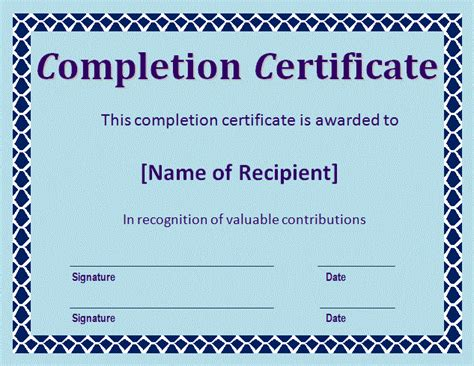 certificate of completion word template certificate of completion template free word