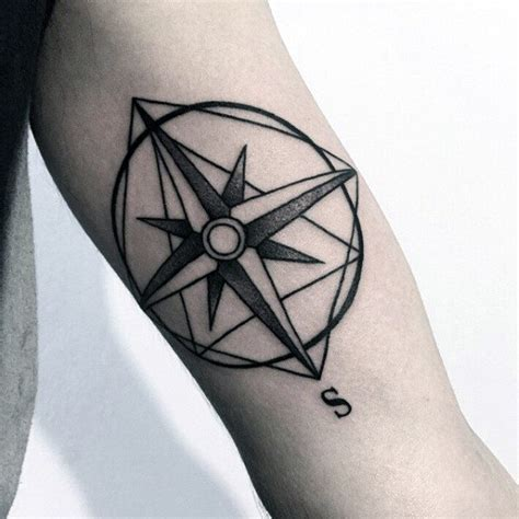 dotwork rose compass tattoo on left arm by daniel rozo 90 minimalist tattoo designs for men simplistic ink ideas